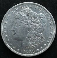 KAPPYSCOINS G2954 1886O AU OLD CLEANED MORGAN SILVER DOLLAR AT A SPECIAL PRICE