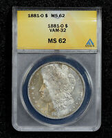 1881-O MORGAN DOLLAR VAM-32 DOUBLED DATE ANACS MINT STATE 62