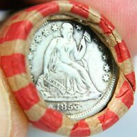 1856 SEATED DIME ON END OF 50 COIN MIXED WHEAT CENT ROLL   E