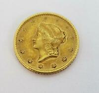 1849 O US GOLD $1 TYPE 1 SCRATCHES BOTH SIDES L10635