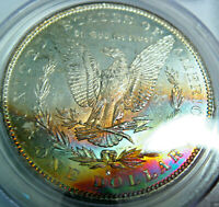 1879-S RAINBOW TONED MORGAN SILVER DOLLAR PCGSCERTIFIED MINT STATE 63 DUAL SIDED TONING
