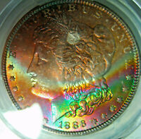 1886 RAINBOW TONED MORGAN DOLLARPCGS MINT STATE 65 GEM COLORFUL OBVERSE CRESCENT TONER