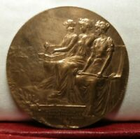 1987  SUPERB FRENCH BRONZE 50MM ART NOUVEAU MEDAL THREE WOMEN SEATED AWARD