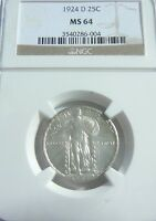 1924 D STANDIING LIBERTY QUARTER NGC MINT STATE 64 MINT STATE 64