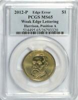2012-P HARRISON WEAK EDGE LETTERS ERROR PCGS MINT STATE 65 POS A