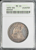 1870 SEATED HALF DOLLAR W/ ARROWS AT THE DATE ANACS MS60 OLD STYLE SLAB