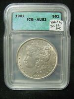1901 MORGAN SILVER DOLLAR - VAM 5 DOUBLED EAR -  ICG AS AU 53 - HOT 50