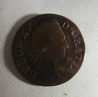 VINTAGE FRANCE COPPER LIARD COIN LOUIS XV 1774  1011