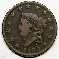 1820/19 N 2 R 2 SMALL OVERDATE MATRON OR CORONET HEAD LARGE CENT COIN 1C