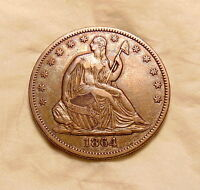 1864 P LIBERTY SEATED HALF DOLLAR   BETTER DATE   SHARP LOOKING COIN
