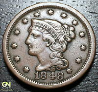 1848 BRAIDED HAIR LARGE CENT     MAKE US AN OFFER!  B1383