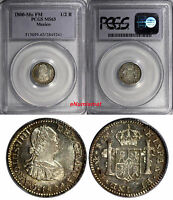 MEXICO CHARLES IV SILVER 1800 MO FM 1/2 REAL PCGS MS63 NICE TONED KM 72