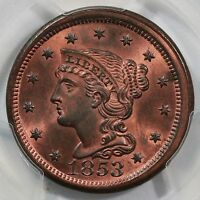 1853 N 27 PCGS MS 65 RB CC1 BRAIDED HAIR LARGE CENT COIN 1C EX; TWIN LEAF