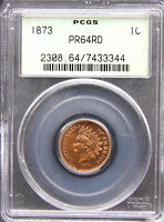 1873 CLOSED 3 INDIAN CENT PCGS PR64 RD FULL RED   OGH   OLD GREEN HOLDER