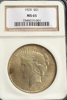 NGC GEM BU MS 65 1925 PEACE SILVER DOLLAR. INVESTMENT QUALITY BEAUTIFUL COIN!