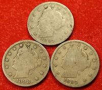 1897, 1898, 1899 LIBERTY V NICKEL G  DATES COLLECTOR, 3 COINS LN416