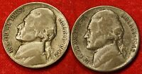 1942 P S JEFFERSON WAR NICKELS 2 COINS 35 SILVER COLLECTOR GIFT JN176