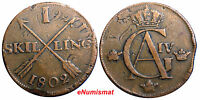 SWEDEN COPPER 1802  1 SKILLING OVERSTRUCK ON 2 ORE S.M. 1766 / FULL DATE /