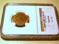 1867 2 CENT MINT STATE 64 RB COIN NGC