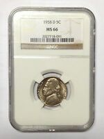 1958 D NGC MS 66 JEFFERSON NICKEL