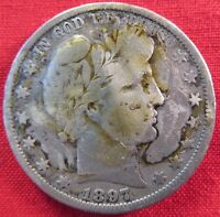 1897 O BARBER HALF DOLLAR GLUE ON FRONT/ SCRATCHES/HARSHLY CLEANED 1754