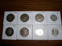 FRANKLIN HALF DOLLAR  TWO1951,TWO1952,ONE1960   TREE 25C  1960,1961,1964D