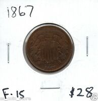 1867 AND 1868 2 CENT PIECES - 2 COIN LOT