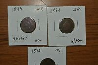 TRIO OF EARLY INDIANS. 1873 VG 1874 AG/G AND 1875 FR