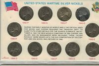 COMPLETE SILVER UNITED STATES WARTIME JEFFERSON NICKEL SET 1942 1943 1944 1945