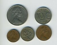 AUSTRALIA   LOT OF 5 COINS   1 2 5 10 & 20 CENTS   EXOTIC ANIMALS   LOT   22
