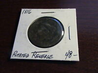 1816 CORONET LARGE CENT  TOUGH FIRST YEAR ROTATED REVERSE    P292