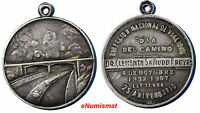 ARGENTINA BRIDGE ROAD  SILVER 1932 1957 MEDAL 25TH ANNIVERARY XF CONDIT. 30 MM
