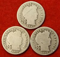 1897 1898 1899 P'S BARBER / LIBERTY HEAD DIME G COLLECTOR COIN THREE COINS BD315