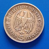 GERMANY SILVER 5 MARK COIN WW2     1935 F