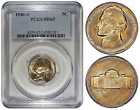 USA 5 CENTS 1946 D PCGS MS65 MONSTER RAINBOW TONING