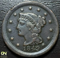1849 BRAIDED HAIR LARGE CENT     MAKE US AN OFFER  G3682