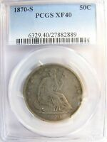 1870 S SEATED LIBERTY HALF DOLLAR  PCGS XF 40 CERT 27882889