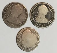 1783 & 1784 & 1785 2 REALES CAROLUS III. 3 SILVER COIN SET