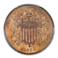 1864 2C SMALL MOTTO TWO CENT PIECE PCGS MINT STATE 64RB CAC FIRST 1678-9