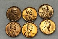 U.S.COINS LINCOLN WHEAT 1951D 1952D 1953D 1954S 1955S 1957D UNCIRCULATED RED