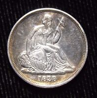 1838 O LIBERTY SEATED DIME XF   AU CONDITION CLEANED