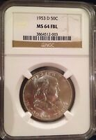 FRANKLIN HALF DOLLAR 1953 D  MS 64 FBL FULL BELL LINES  NGC PRICE: $80.00