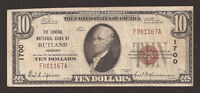 RUTLAND VERMONT CHARTER  1700 SERIES1929 $10.00 TYPE  1 16 REPORTED