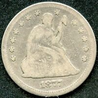 1877 F 25C SILVER SEATED LIBERTY QUARTER