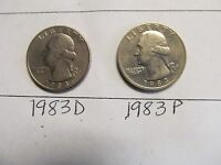 1983 P&D CIRCULATED WASHINGTON QUARTERS  LOT 28