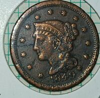 1849 LARGE US ONE CENT.  FULL LIBERTY.