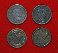 1846 1847 1848 & 1849 LARGE CENTS LIBERTY CORONET BRAIDED HAIR