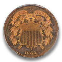 1865 2C TWO CENT PIECE PCGS PR66RB COLOR 1678-17