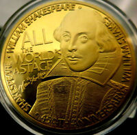 WILLIMA SHAKESPEARE GOLD PLATED COIN  COMMEMORATIVE MEDAL  HAMLET