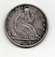 1859 0 SEATED HALF DOLLAR GREAT FILLER OR KEY CHAIN